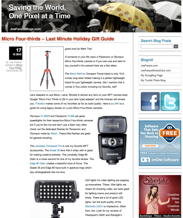 Blog screen grab Holidy guide